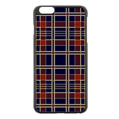 Plaid Tartan Scottish Navy Gold Apple Iphone 6 Plus/6s Plus Black Enamel Case
