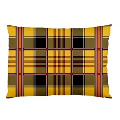 Plaid Tartan Scottish Yellow Red Pillow Case (two Sides)