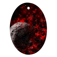 Planet Explode Space Universe Oval Ornament (two Sides)