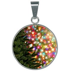 Christmas Tree Fir Tree Star 25mm Round Necklace