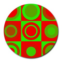 Red Green Christmas Background Round Mousepads
