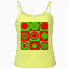 Red Green Christmas Background Yellow Spaghetti Tank