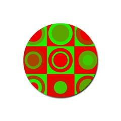 Red Green Christmas Background Rubber Coaster (round)