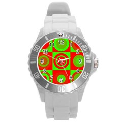Red Green Christmas Background Round Plastic Sport Watch (l)