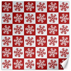 Snowflake Red White Canvas 20  X 20