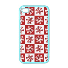 Snowflake Red White Apple Iphone 4 Case (color)