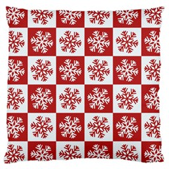 Snowflake Red White Large Cushion Case (one Side)