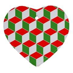 Christmas Abstract Background Heart Ornament (two Sides)