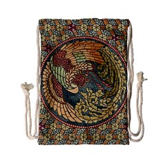 Wings Feathers Cubism Mosaic Drawstring Bag (small)