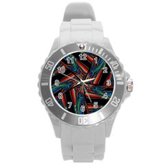 Abstract Art Pattern Round Plastic Sport Watch (l)