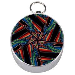 Abstract Art Pattern Silver Compasses
