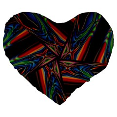 Abstract Art Pattern Large 19  Premium Flano Heart Shape Cushions