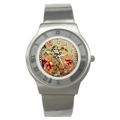 Flower Cubism Mosaic Vintage Stainless Steel Watch