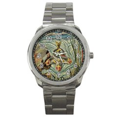 Fish Underwater Cubism Mosaic Sport Metal Watch by Wegoenart