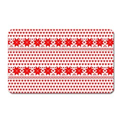 Fairisle Pattern Background Red Magnet (rectangular)