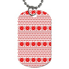 Fairisle Pattern Background Red Dog Tag (one Side)