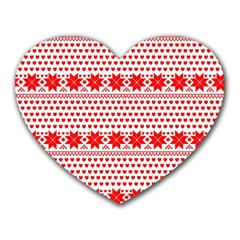 Fairisle Pattern Background Red Heart Mousepads