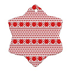 Fairisle Pattern Background Red Ornament (snowflake)