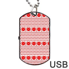 Fairisle Pattern Background Red Dog Tag Usb Flash (two Sides)