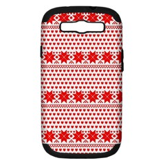 Fairisle Pattern Background Red Samsung Galaxy S Iii Hardshell Case (pc+silicone)