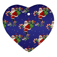 Christmas Vintage Santa Background Ornament (heart)