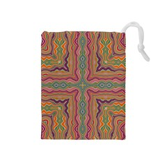 Abstract Design Abstract Art Orange Drawstring Pouch (medium)