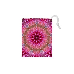 Flower Mandala Art Pink Abstract Drawstring Pouch (xs)