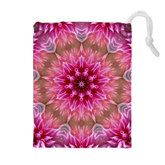 Flower Mandala Art Pink Abstract Drawstring Pouch (xl)