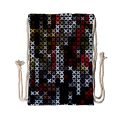 Christmas Cross Stitch Background Drawstring Bag (small)