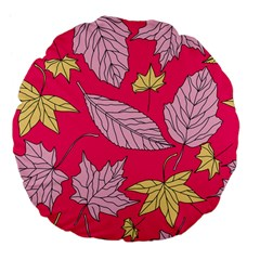 Autumn Dried Leaves Dry Nature Large 18  Premium Flano Round Cushions