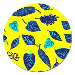 Leaves Pattern Picture Detail Magnet 5  (round) by Wegoenart