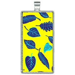 Leaves Pattern Picture Detail Rectangle Necklace