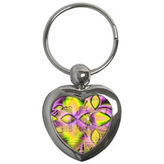 Golden Violet Crystal Heart Of Fire, Abstract Key Chain (heart) by DianeClancy