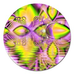 Golden Violet Crystal Heart Of Fire, Abstract Magnet 5  (round) by DianeClancy
