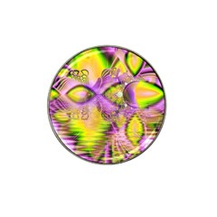 Golden Violet Crystal Heart Of Fire, Abstract Hat Clip Ball Marker