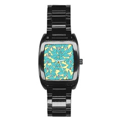 Leaves Dried Leaves Stamping Stainless Steel Barrel Watch