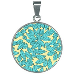 Leaves Dried Leaves Stamping 30mm Round Necklace by Wegoenart