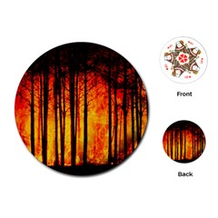 Forest Fire Forest Climate Change Playing Cards (round)