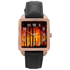 Forest Fire Forest Climate Change Rose Gold Leather Watch