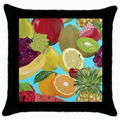 Fruit Picture Drawing Illustration Throw Pillow Case (black) by Wegoenart