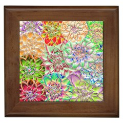 Dahlia Flower Colorful Art Collage Framed Tiles