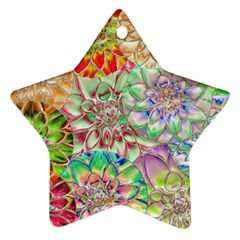 Dahlia Flower Colorful Art Collage Star Ornament (two Sides)
