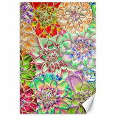 Dahlia Flower Colorful Art Collage Canvas 20  X 30