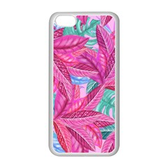 Leaves Tropical Reason Stamping Apple Iphone 5c Seamless Case (white) by Wegoenart
