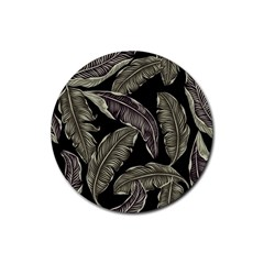 Jungle Leaves Tropical Pattern Rubber Coaster (round)