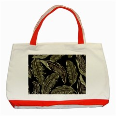 Jungle Leaves Tropical Pattern Classic Tote Bag (red) by Wegoenart