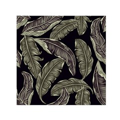 Jungle Leaves Tropical Pattern Small Satin Scarf (square) by Wegoenart