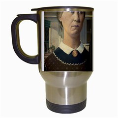 Grant Wood American Gothic Travel Mugs (white) by ArtMuseum
