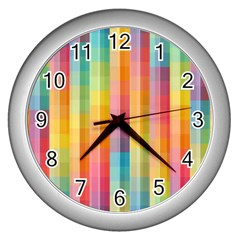 Pattern Background Colorful Abstract Wall Clock (silver) by Wegoenart