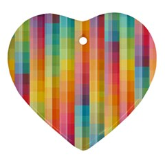 Pattern Background Colorful Abstract Heart Ornament (two Sides)